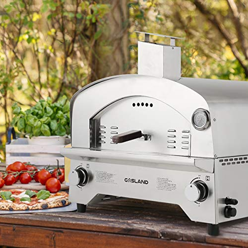 GASLAND Gas Pizza Oven, PZ101SN Outdoor Propane Pizza Oven with 13' Pizza Stone, Stainless Steel Portable Gas Fired Pizza Maker for Garden, Camping, Party, Catering Event, Backyard