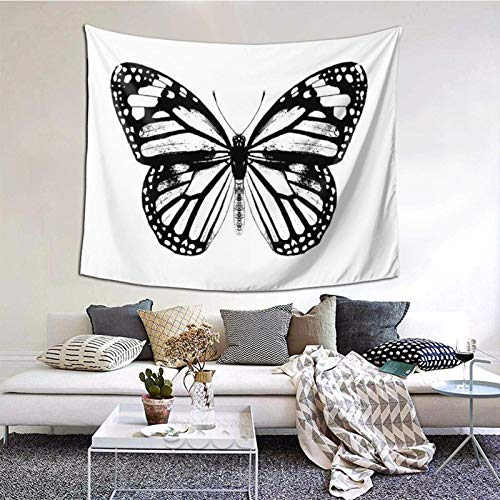 Tapestry Wall Hanging,Monarch Butterfly Black And White Tapestry 60X50 Inches Boho Wall Art Tapestries Hanging for Dorm Room Living Home Decorative