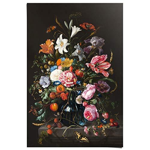 Maxi Poster Vaas met bloemen Jan Davidsz de Heem - Stilleven - Kunstwerk - Rijksmuseum - 61 x 91 cm Woonkamer