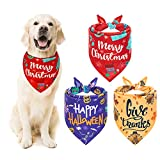 EXPAWLORER Festival Dog Bandana Set-3 Pieces Festival Bandana for Christmas, Halloween and Thanksgiving, Pet Triangle Scarf for Small Medium Large Dogs and Cats