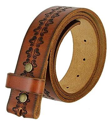"BS042 Vintage Tooled Full Grain Cowhide Leather Casual Jean Belt Strap for Men 1.5"" Wide (Tan, 36)"
