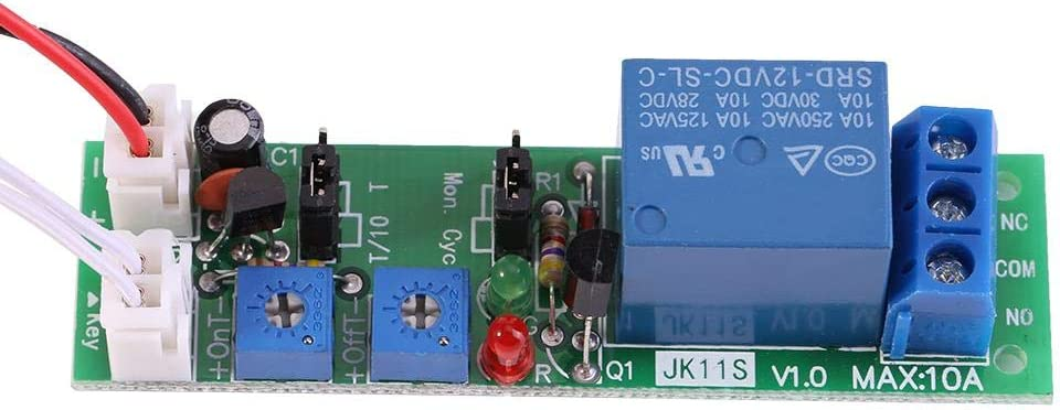 【𝐒𝐞𝐦𝐚𝐧𝐚 𝐒𝐚𝐧𝐭𝐚】 Relé temporizador, módulo de relé de encendido/apagado de retardo de temporizador de ciclo ajustable (DC 5V 12V 24V)(DC12V,0-120min)