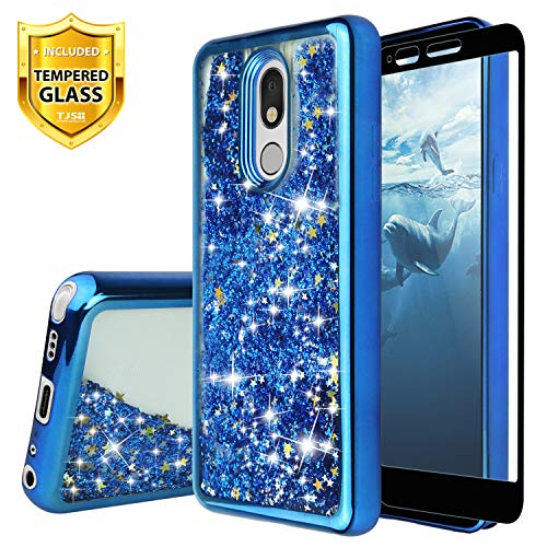 TJS Phone Case for LG Stylo 5/LG Stylo 5 Plus/LG Stylo 5V, with [Full Coverage Tempered Glass Screen Protector] Glitter Liquid Chrome Bump Hybrid Shockproof Drop Protector Motion Armor Cover (Blue)