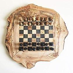 Schachspiel rustikal,Schachbrett Gr. M inkl. Schachfiguren, Olivenholz, Handarbeit