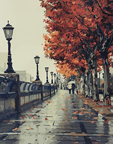 YXQSED [Rahmenlos] DIY Pintura por Números, Pint por Número de Kits for Adultos Mayores Avanzada Niños Joven-El Amor romántico otoño 16X20 Inch