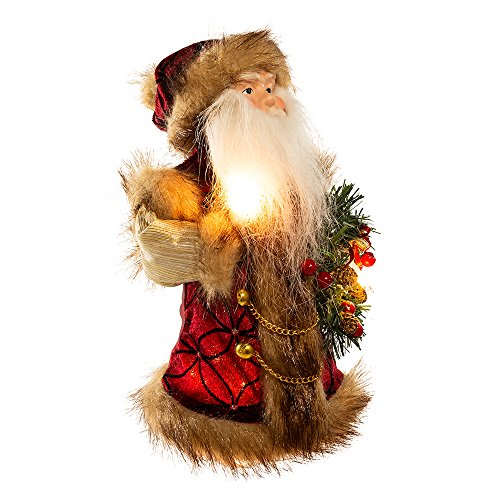 Kurt Adler 10-Light Burgundy and Brown Santa Treetop, 10-Inch