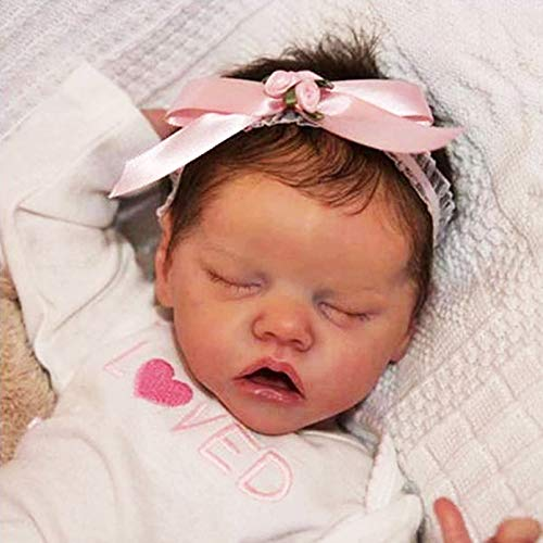 YANE Silicona De Cuerpo Completo Reborn Baby Dolls Sleeping Girl 18'Suave Realista Hecho A Mano Recién Nacido Niño Imán Chupete Juguetes De Regalo para Mayores De 3 Años