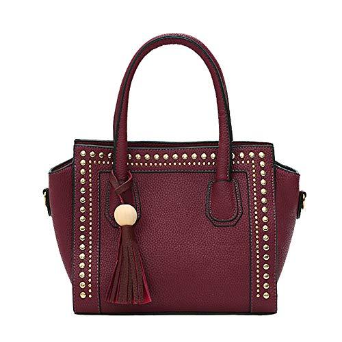 HUANGHUA Frauen Handtaschen Messenger Bags Weibliche Nieten Und Fransen Dekoration Umhängetasche