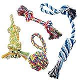TOMYEER Juguetes de Cuerda para Perros Algodon Cuerda Duradera Dientes Cuidado,Pack de 4