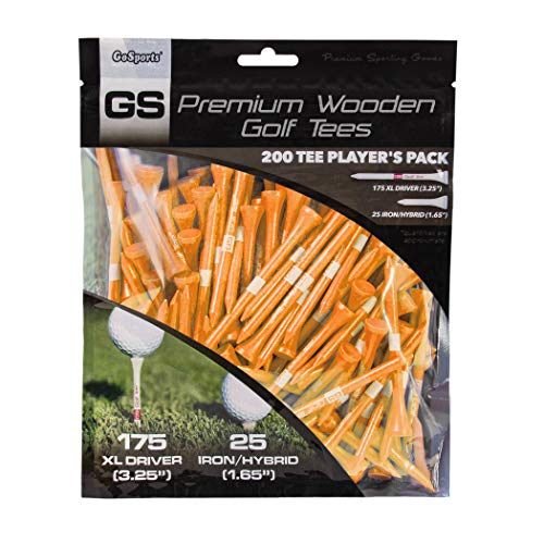 """GoSports 3.25"""" XL Premium Wooden Golf Tees - 200 XL Tee Player's Pack Driver and Iron/Hybrid Tees, Choose Your Tee Color"""