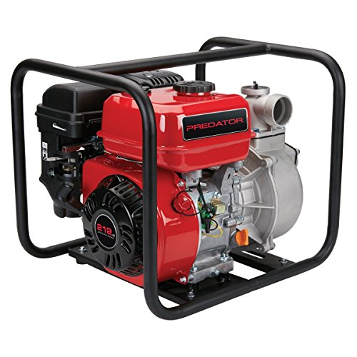 2 inch 6.5 HP Clear Water Irrigation Pump with 212cc 4 stroke OHV Gas Engine with Recoil Start, EPA Certified, 9,060 GPH, 83 ft. lift; INCLUDED: intake strainer, hose clamps and spark plug wrench