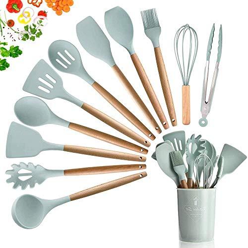 silicona Utensilios cocina Incluye 11 utensilios de cocina de silicona,juego de utensilios de cocina con mango de madera antiadherente y resistente al calor,con contenedor de almacenamiento,verde