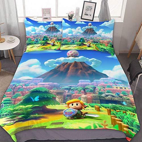 RWNFA Bedding Duvet Cover Set,Twin (68x86 inch), Legend of Zelda Link's Awakening,3 Pieces Bedding Set,with Zipper Closure and 2 Pillow Shams, Cute Cartoon Bedroom Comforter Sets for Boys Girls