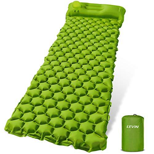 LEVIN Isomatte Camping Selbstaufblasbare - Handpresse Aufblasbare leichte Rucksackmatte für Wanderungen Reisen, langlebige wasserdichte Luftmatratze kompakte Wandermatte Green