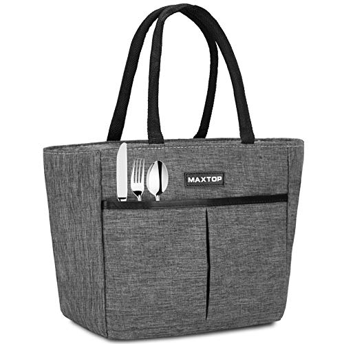 MAXTOP Insulated Lunch Bags for Women,thermal Lunch Tote with Front Pocket, Tote Bag perfect gifts for women for Office Work Picnic School (Grey, Small)