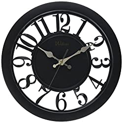 Ashton Sutton Round Quartz Analog Wall Clock, 11-Inch, See Thru Black Case