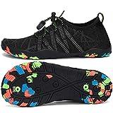 SAGUARO Zapatos de Agua Niños Secado Rápido Escarpines Piscina Niñas Respirable Antideslizante Zapatos de Surf para Buceo,Vela,Natacion Negro Azabache 34 EU