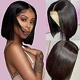 BLISSHAIR Human Hair Closure Wigs Short Bob Wig Glueless Lace Closure Wigs Straight 130% Density Brazilian Virgin Remy Hair for woman Natural Black 16inch