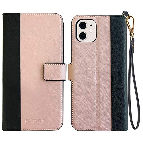 Pinzoveno Compatible with iPhone 12 Mini Case Wallet, Flip Phone Cover with Card Holder Slot and Screen Protector Kickstand PU Leather Folio iPhone 12 Mini Cases for Women - Pink