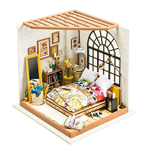 RoWood DIY Miniature Dollhouse Kit with Furniture, Wooden Mini House Set, Best Gift for Adults and Teens - Alice's Dreamy Bedroom