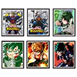 My Hero Academia Japanese Anime Pictures Poster Wall Art Decor Canvas Print,8 x 10 Inches,Set of 6 Pieces,No Frame