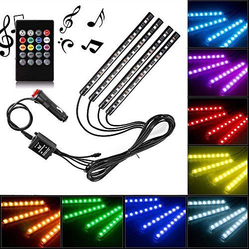 DOOK 4 x 12 LED binnenverlichting auto lichtstrip meerkleurige LED-strips met afstandsbediening en autolader DC 10-15V