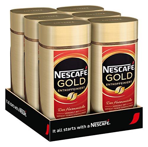 NESCAFÉ Gold Entkoffeiniert, löslicher Bohnenkaffee aus erlesenen Kaffeebohnen, ohne Koffein, vollmundig & aromatisch, 6er Pack (6 x 100g)