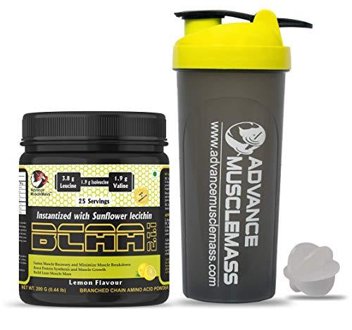 Advance MuscleMass BCAA 2 : 1 : 1 | Energy drink for Workout | 7.6 G BCAA | 3.8 G Leucine | 1.9 G Iso-Leucine | 1.9 G Valine| Lab Tested |With Shaker| Lemon Flavour | 200 GM / 0.44 lb