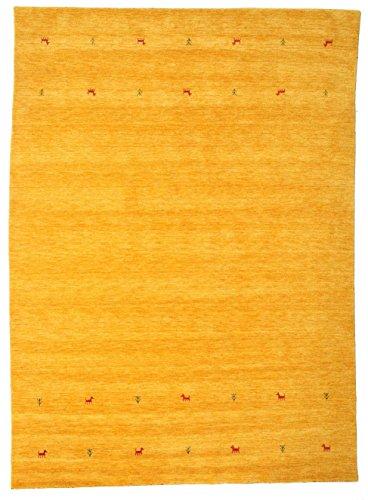 RugVista, Gabbeh Loom Two Lines, Handgemacht, Teppich, Gabbeh, Hochflor, 240 x 340 cm, Rechteckig, Care & FAIR, Wolle, Flur, Schlafzimmer, Küche, Wohnzimmer, Gelb