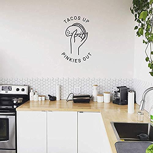 Tacos Up Pinkies Out - Trendy Lustige Zitat Aufkleber Taco Bild für Schlafzimmer Küche Schule Speisesaal Büro Küchenzeile Arbeitsdekor (Schwarz 26,5 x 17)-Schwarz_26,5