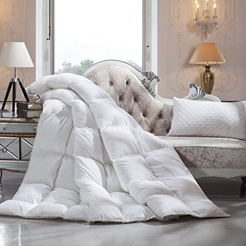 Luxurious King/California King Size Siberian Goose Down Comforter, 1200 Thread Count 100% Egyptian Cotton, 50 oz Fill Weight, 1200TC, White Solid