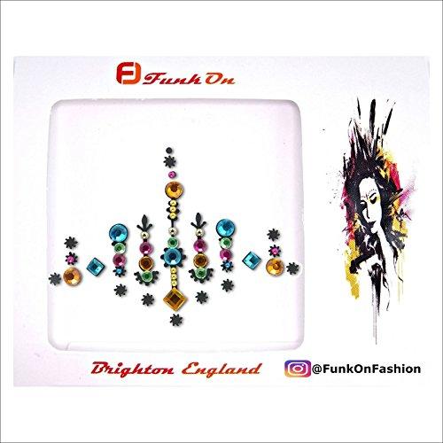 FunkOn® Rainbow Pride Face gem Diamante Stick on Face jewels Multi Coloured Large Festival Bindi Colourful Glitter Body Sticker Festival make up accessories BC13BOG
