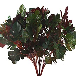 Silk Flower Arrangements MHMJON 4pcs Artificial Plants Silk Tropical Palm Leaves Fake Greenery Faux Plastic Shrubs Leaves Indoor Outdoor Home Kitchen Office DIY Hotel Table Decoration