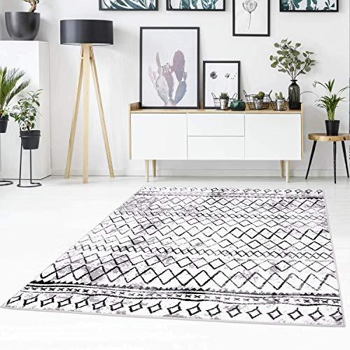 carpet city Teppich Flachflor mit Zickzack-Muster, Chevron, Modern, Meliert in Weiß, Schwarz für Wohnzimmer; Größe: 120x170 cm