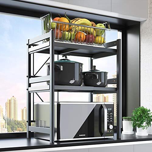 Einfaches.Zuhause.zgl Aluminium Küchenregal Mikrowelle, Küchenregale Standregal Arbeitsplatte, Teleskop Regal 41~62 cm Breit, mit Haken (Size : 62×41×78 cm)