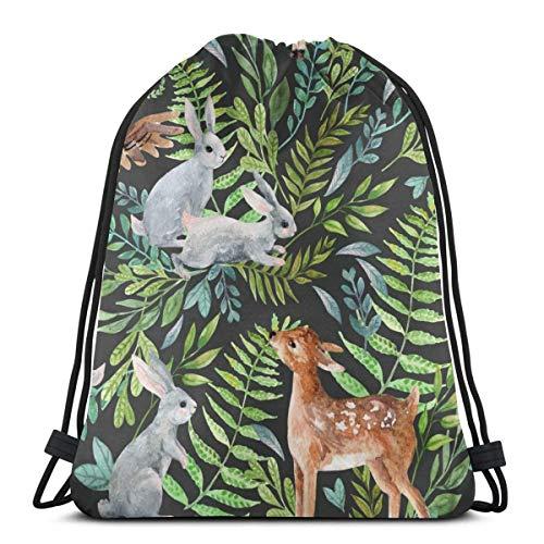 Acuarela bebé ciervo, búho, pequeños conejos con cordón Bapa bolsa de poliéster Cinch Sa impermeable deporte gimnasio bolsa escuela Daypa para niños niñas