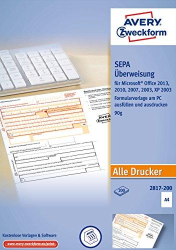 AVERY Zweckform 2817-200 Überweisung/Zahlschein (PC-Druckerformular, A4, von Rechtsexperten geprüft, für Deutschland, zum einfachen Erstellen von Überweisungen am PC, 200 Blatt)