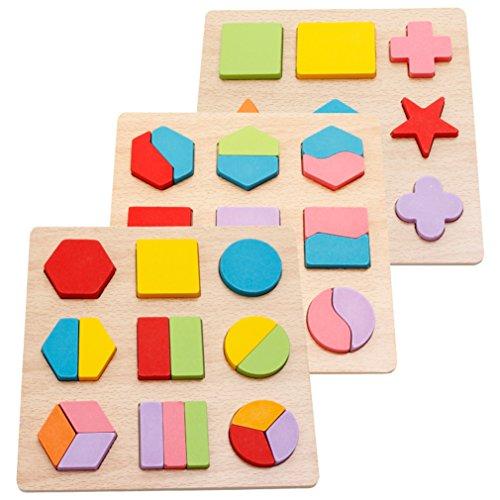 PhantomSky 木の玩具 型はめ 知育玩具 形合わせ パズル 棒さし 幾何認識 幼児 プレゼント - 3 個セット
