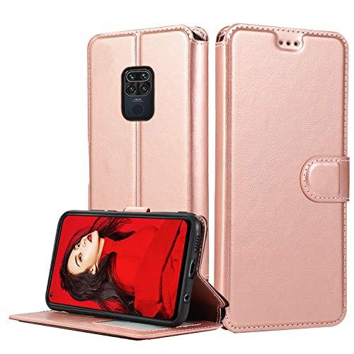 LeYi Hülle für Xiaomi Redmi Note 9 / Redmi 10X 4G Mit HD Folie Schutzfolie,Leder Handyhülle Stoßfest Wallet Magnet Schutzhülle Tasche Slim Silikon Bumper TPU Hülle für Handy Redmi Note 9 Matt Rose Gold