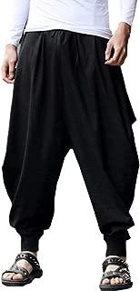 BITLIVE Men's Cotton Linen Plus Size Stretchy Waist Casual Ankle Length Pants