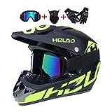 LEENY Motocrosshelme Fullface Kinderhelm Motorrad Off-Road-Helm Crosshelme Set mit Handschuhe Maske Brille, 8-Stil Motorradhelm Herren Damen Schutz-Helm Downhill Enduro ATV MTB BMX-Helm,H,L(56~57cm)