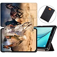 MAITTAO Galaxy Tab A 10.1 with S Pen 2016 Case SM-P580/P585, Folio Shell Case Stand Cover with Auto Wake/Sleep for Samsung Galaxy Tab A 10.1 Inch Tablet Sleeve Bag 2 in 1 Bundle, Akhal-Teke Horse 8
