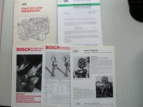 Ford 2,4 Liter Dieselmotor – Kundendienst – Spezialwerkzeuge + Preisliste + Rundschreiben, Bosch Minitester / Prüfgeräte