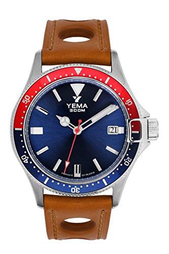 Armbanduhr Herren–Yema–Pro Diver–Armband Leder honig perforiert–Automatische–42mm–30bar–ymhf1554-gs34