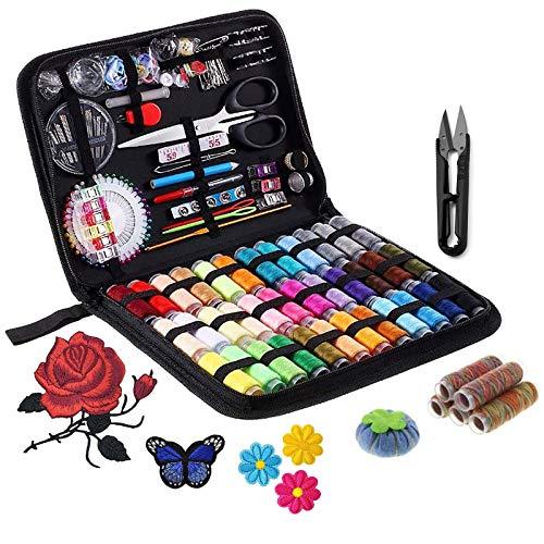 DIY Kit de couture avec, accessoires de couture avancés bricolage, kit de couture portable pour débutants, voyageurs, réparation de vêtements d'urgence, broderie, (206 pièces)