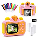 32GB Instant Print Cameras for Kids,Zero Ink 1080p Video Kids Digital 12MP Selfie Camera for Girls,INKPOT Birthday Gift Photo Printer Camera for Kids Age 6 7 8 9 10-Color Pens,Print Papers