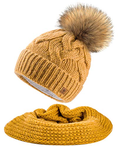 MFAZ Morefaz Ltd Set Mütze & Schal Flechte Damen Winter Beanie Wurm Strickmütze Mohair Wolle Fleece Bommel Pom Pom (Mustard Mütze & Schal)