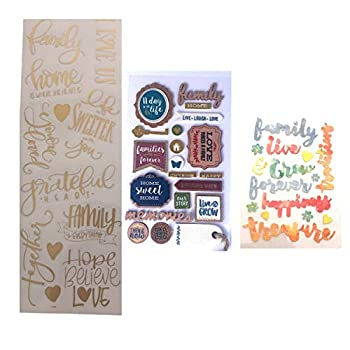 Holly Lines Gold Pastel and Vintage 47-Piece Memories Family Scrapbook Stickers Three Separate Sheets Gold Script Pastel Script Vintage Mixed-Media Planner Journal Large and Small Scrapbook Stickers