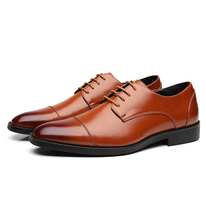[hitstar] ビジネスシューズ メンズ 革靴 カジュアル 紳士靴 ブリティッシュ クラッシク 通勤 靴紐 革靴 滑り止め 通気(ブラウン,26.0)