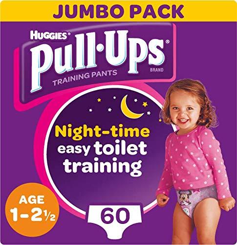 Huggies Pull-Ups Meisjes Nacht Tijd Potty Training Broek, 1-2,5 Jaar, (60 Broek)